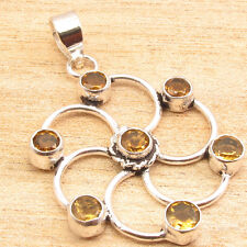 "Chakra Pendant 1 3/4""Cute Jewelry Yellow Citrine Gem, Silver Plated"