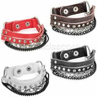 Men's Punk Rock Rivet Leather Straps Curb Chain Bracelet Bangle Cuff Adjustable