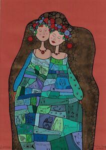 original painting A3 25SO decorative Illustration Art Mixed Media women