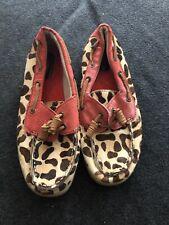 Womens Aloha Island Leopard Boat Shoes Size 6
