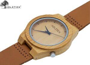 HOLZTICK® - Herrenuhr / Holzuhr mit Echtlederarmband / Armbanduhr Herren