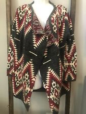 Bella Berry Women's Size Large Southwestern Print Open Drape Sweater
