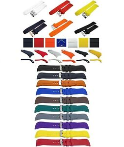 GOOD QUALITY CURVED END POLYURETHANE RUBBER DIVE WATCH STRAP 20mm 22mm 10 colors