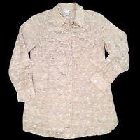 SOFT SURROUNDINGS Gold Metallic Button Down Shirt Cotton Silk Blend Blouse Sz M