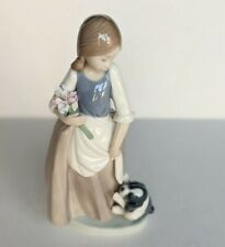 """New ListingVintage Nao by Lladro #1004 """"What About Me?"""" - Girl With Dog And Flowers"""