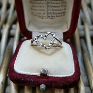 Natural Diamonds Sterling Silver Ring, Heart 925 Silver Ring, Size J US 4.75