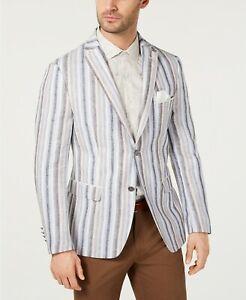 Tallia Mens Blazer Classic Beige Size 46R Striped Print 2 Button $350- 236