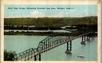 Dubuque IA North High Bridge Wisconsin and Iowa Vintage Postcard EE1