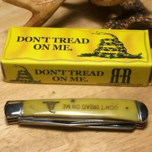 """Rough Ryder Dont Tread on Me Yellow Smth Bone Trapper 4 1/8"""" Pocket Knife RR1381"""
