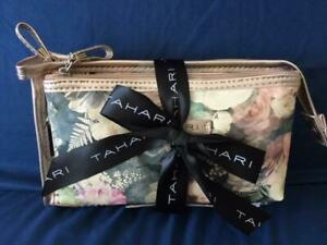 *NEW* TAHARI 2 PIECE COSMETIC / MAKE UP BAGS East / West Floral Set