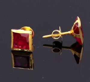 UNISEX JEWELRY COLLECTION 18 K REAL GOLD STUD HANDMADE MEN WOMEN SPECIAL 18 CT