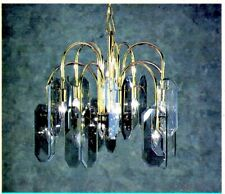 Polished Brass Smoke Glass Panel Ceiling Chandelier Fixture New by Mobilite 8768