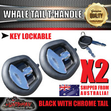 x2 Black Whale Tail T Handle Folding Lock Trailer Caravan Boat Ute Truck Toolbox