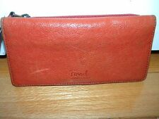 Fossil Orange Leather Wallet Organizer Clutch