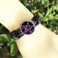 Pentagram moon wiccan pagan wicca Black Glass leather & chord Bracelet charm