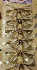 (3) Six Packs Ivory & Gold Bows with Little Gold Bells, Gold Twist Ties on Back