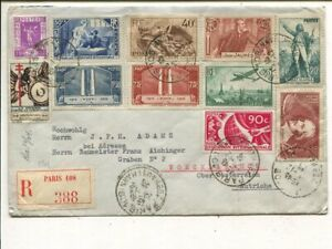 France 10 values on reg cover to Austria 22.12.1936