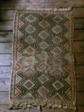 Vintage Distressed Handmade Wool Rug Tribal Geometric Design Orange Brown