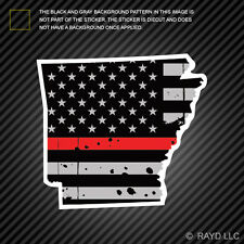 Distressed Thin Red Line Arkansas State Shaped Subdued US Flag Sticker fire AR