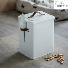 New listing Garden Trading Pet Bin Food Storage, Scoop Leather Handles in Chalk Steel Medium