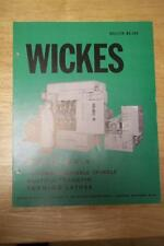 Vtg Wickes Brothers Brochure~Mx-4 Crankpin Turning Lathe~Machine Tool~Saginaw Mi
