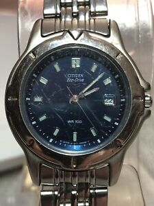 Rare Imported Ladies Citizen Eco-Drive 8511-H12212 TA GN-4-S Blue Dial Watch