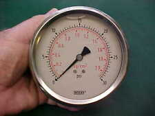 """Wika oil-filled pressure gauge, 0 to 30 psi, 4"""" dia. face, 1/4"""" NPT rear fitting"""