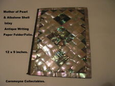 Antique Mother of Pearl & Albalone Shell Writing Paper Folder/Folio.AH1413.
