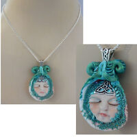 Mermaid Necklace Shell Pendant Jewelry Handmade NEW Hand Sculpted Clay Chain