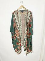 Angie Women's Plus Size 3X Green Multicolor Floral Printed Rayon Kimono Top Boho