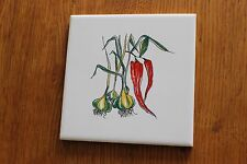 4 Vintage  Wall Tiles Red Chilly Garlic France