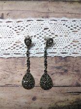 MySilver 925 Sterling Silver & Marcasite Long Teardrop Elegant Drop Earrings