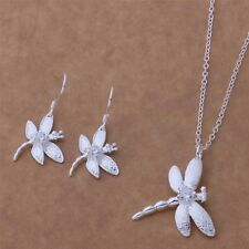 925 Silver Dragonfly Necklace and Earring Set ~UK SELLER~