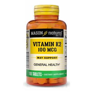 Vitamin K2-MK4 100Tabs 100mcg Mason Menaquine-4 Calcium Dicalcium Phosphate 40mg