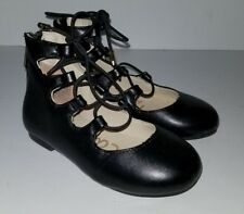 SAM EDELMAN faux black Leather Lace Up Ankle Boot Shoes. toddler 7
