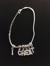 """Crystal Charms """" I CHEAT """" Anklet Swinger Hotwife Queen of Spades Fetish Cuckold"""