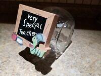 Vintage Tilted Cookie Jar Clear Glass Custom Lid Teacher Worm Apple Chalk
