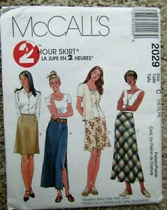 1999 McCall's 2 Hour Skirt Pattern 2029 MISSES' SKIRTS 2 LENGTHS Sz 10-12-14 Unc