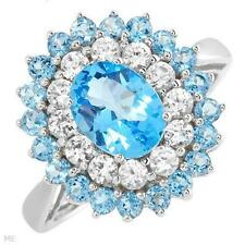 EXQUISITE SOLID 10K WHITE GOLD GENUINE TOPAZ AND SAPPHIRE RING 7