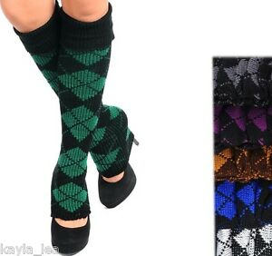 Argyle Print Sweater Knit Acrylic Leg Warmers Boot Cuff Socks 3 Colors