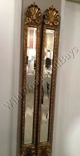 """Set 2 Narrow Baroque Wall Mirrors Antique Gold 60""""H Accent Patina Pair Horchow"""