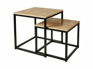 Nesting Side Tables Set of 2, Real Oak Veneer - Black Metal leg Industrial Style