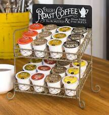 Unique Rustic Vintage Industrial Roast Coffee Tea 24 Cup Keurig Style K-Cup Rack
