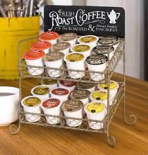 Unique Rustic Vintage Industrial Roast Coffee Tea 24 Cup K-Cup ® Caddy Wire Rack