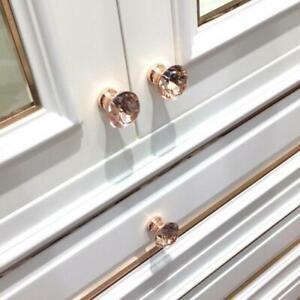 Rose Gold Rhinestone Door Knob Cabinet Drawer Cupboard Wardrobe Pull Handler