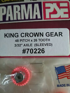 """Parma 70226 King Crown Gear 26 Tooth 48 Pitch - Sleeved For 3/32"""" Axle - Qty. 1"""