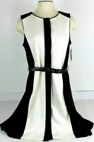 Vince Camuto Womens Size 14 Black & Ivory Belted A Line Dress Sleeveless NWT