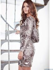 BNWT Little Mistress Chloe Lewis vison Gold Sequin Robe Taille UK 12 RRP £ 150