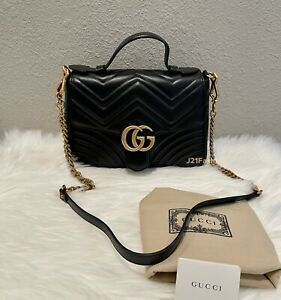 NEW Gucci GG Marmont Top Handle Matelasse Small Black Retail $2690