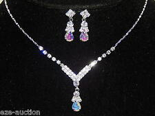 Silver Clear and AB Iridescent Rhinestone Sample Necklace, Earrings Set